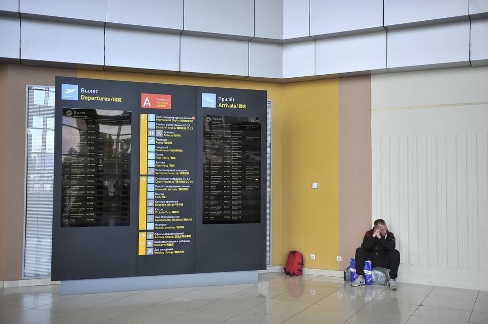 Екатеринбург. Пассажир у табло с расписанием рейсов в аэропорту 'Кольцово'.