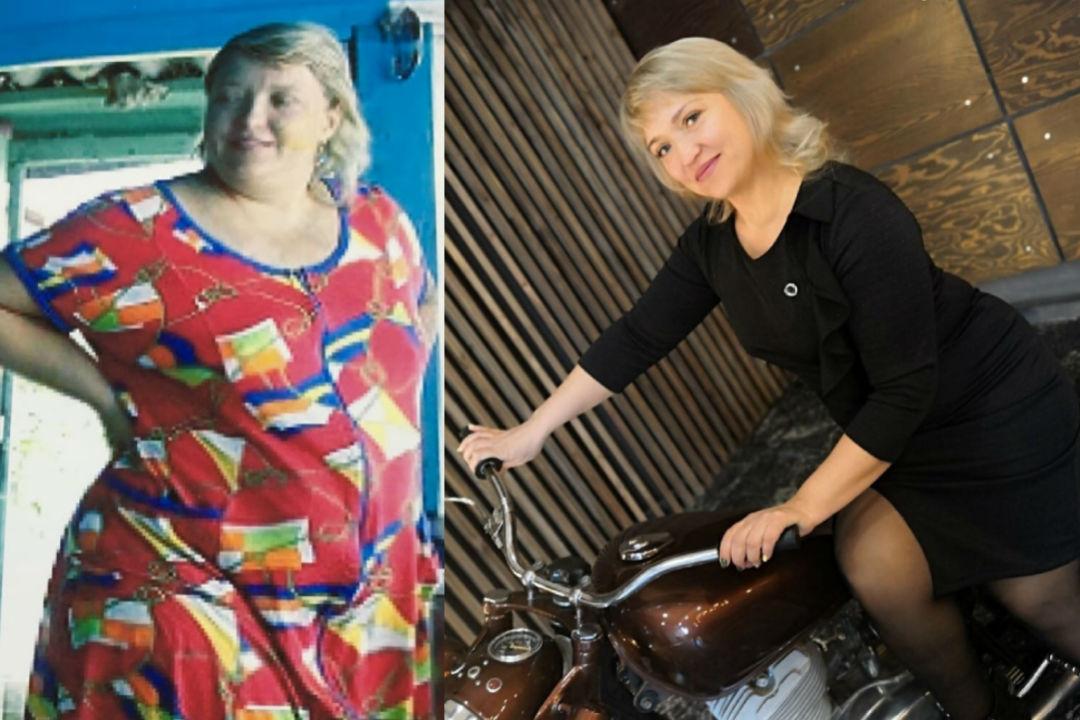 На фото слева Алене чуть больше 30 лет, а справа - 41 год! Разница в весе - 74 килограмма. Фото: личный архив.