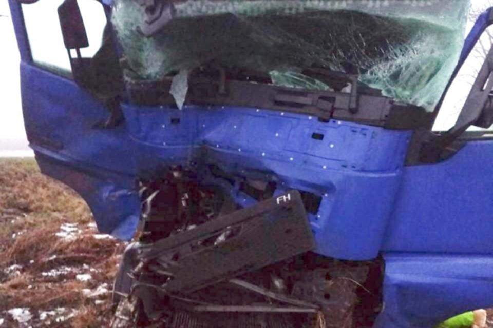 Водитель фуры съехал в кювет, потом врезался в трактор и попытался угнать машину ГАИ. Фото: УВД Витебского облисполкома.