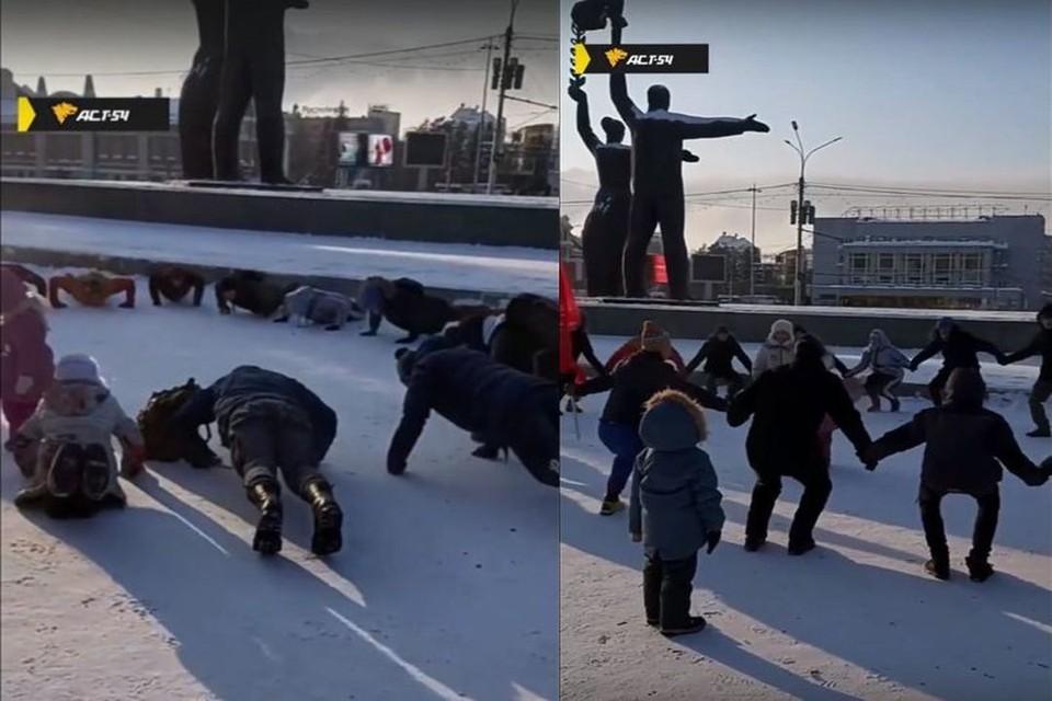 Новосибирцы устроили зарядку днем 1 января в 30-градусный мороз. Фото: Кадр из видео