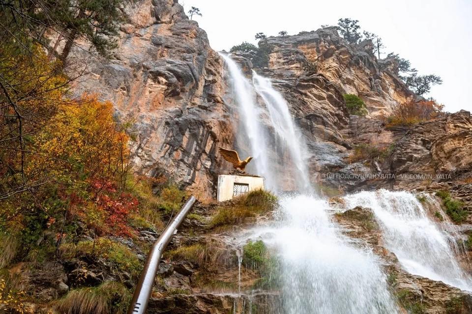 Так водопад Учан-Су выглядел в ноябре. Фото: ПОДСЛУШАНО ЯЛТА/VK