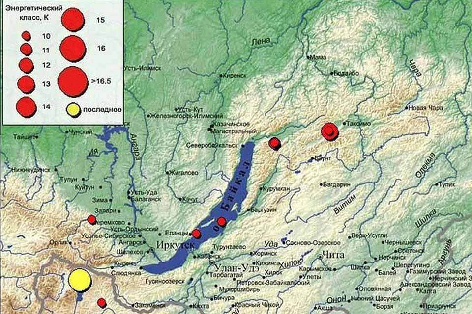 Карта землетрясения 12 января в Иркутске: сразу несколько афтершоков.