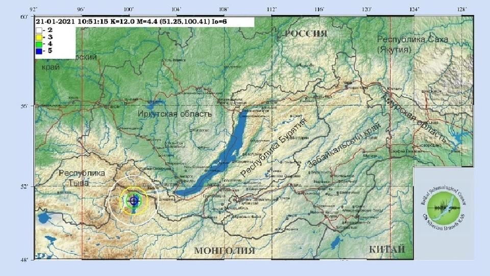 Афтершок силой 2-3 балла произошел в Иркутске вечером 21 января