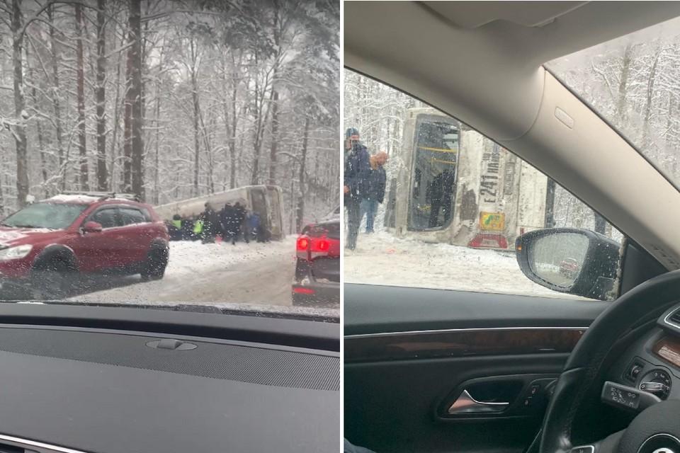 смертельное ДТП произошло на Приморском шоссе. Фото: vk.com/spb_today
