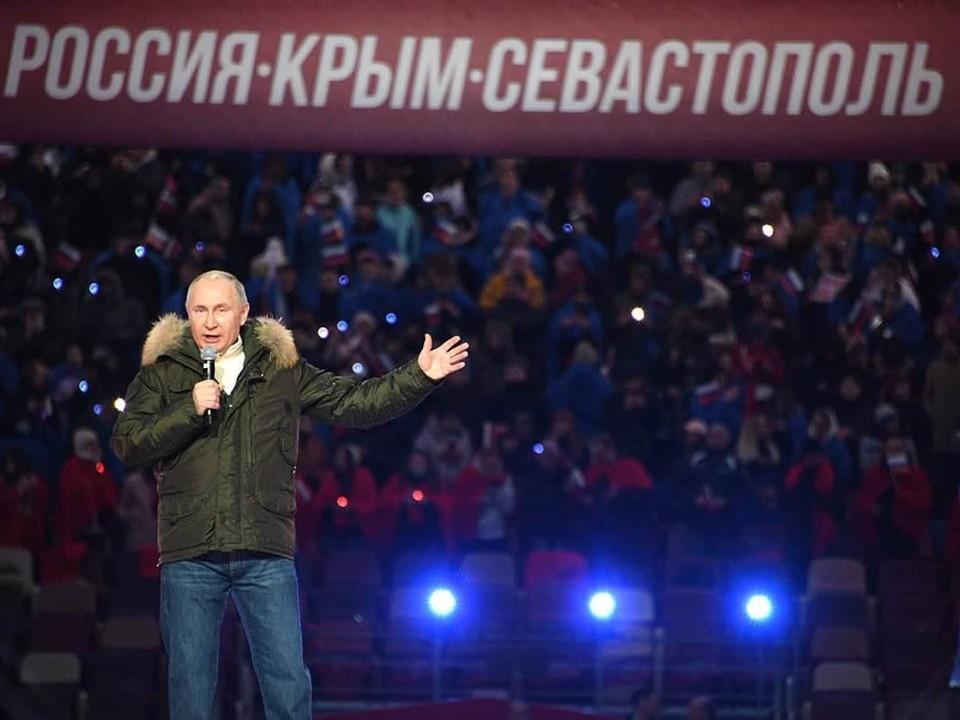 Владимир Путин стал гостем праздничного концерта в честь семилетия воссоединения Крыма с Россией.