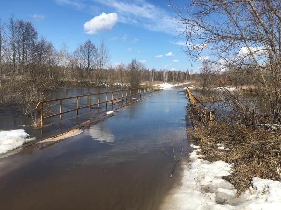 Затопление низководного автомобильного моста в г.о. Навашинский.