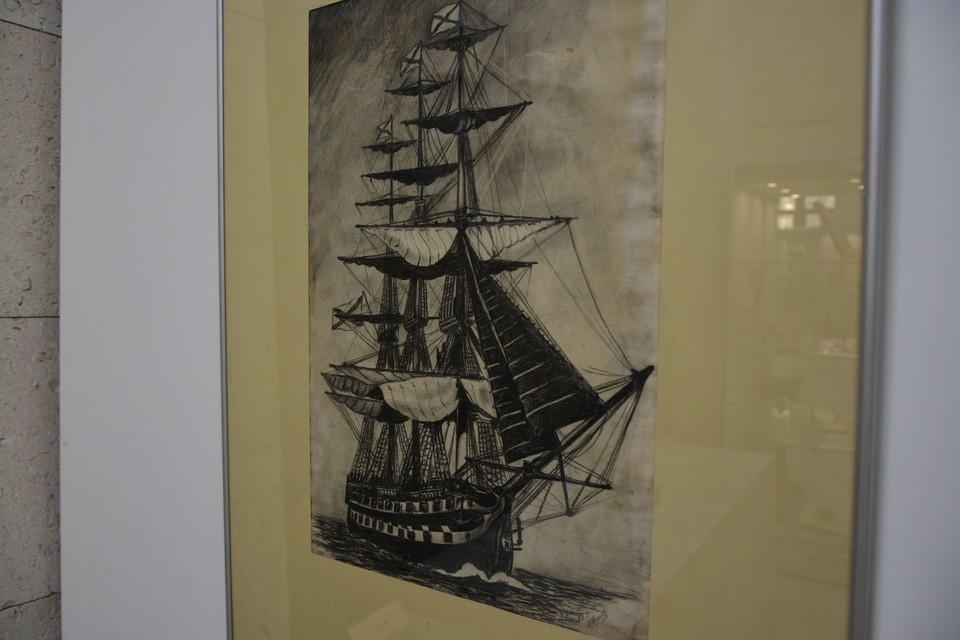 Одна из графических работ Алексея Леонова, 1952 год.