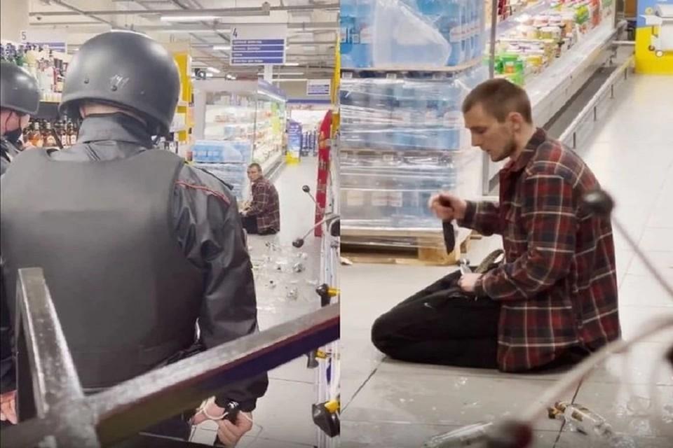 В полиции прокомментировали инцидент с новосибирцем, который просил убить его в магазине. Фото: стоп-кадр.