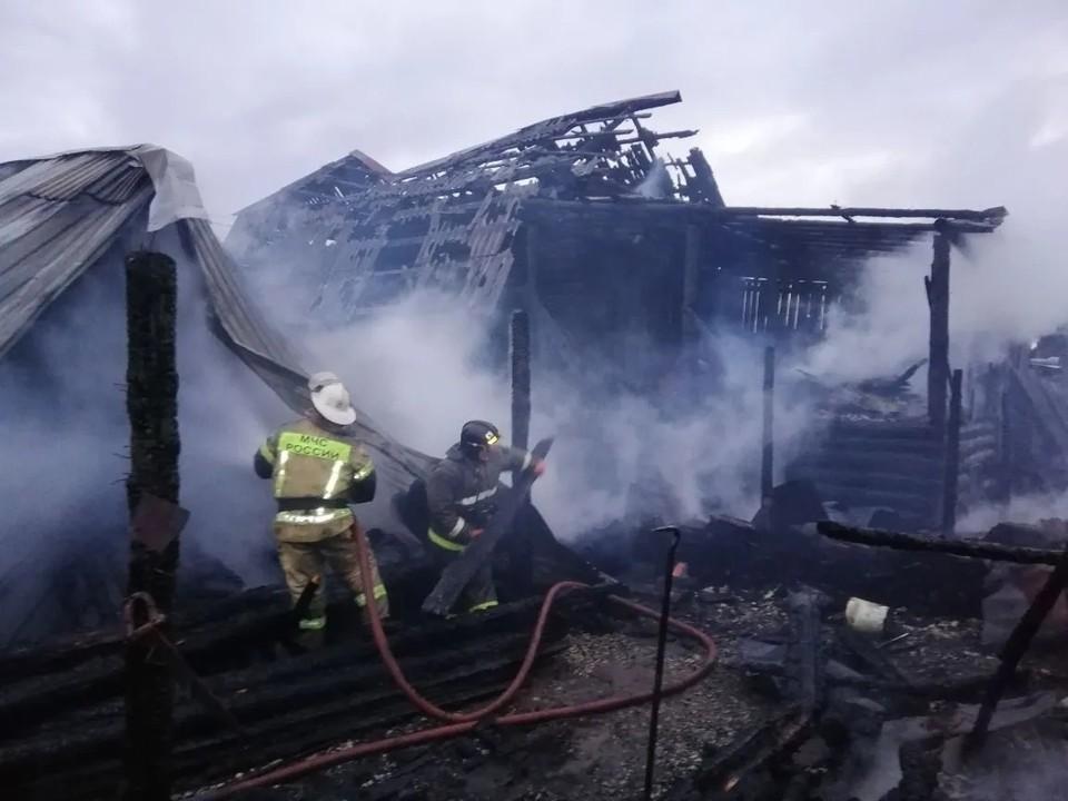 Пожар уничтожил два соседних дома. Фото: ГУ МЧС по Челябинской области