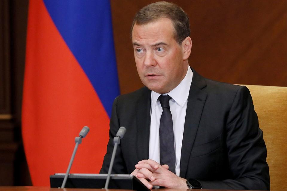 Зампредседателя Совбеза Дмитрий Медведев на совещании по увеличению производства вакцин. Фото: Екатерина Штукина/POOL/ТАСС