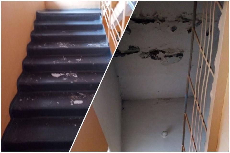 Из-за дырявой крыши в школе с потолка обвалилась штукатурка.