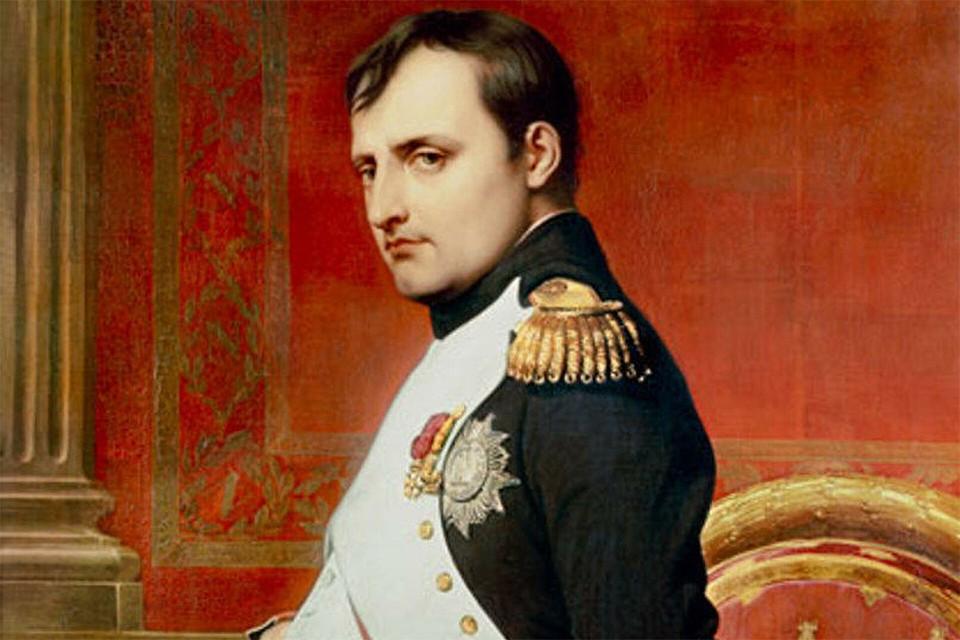 Наполеон I Бонапарт, портрет кисти Поля Делароша, фрагмент.