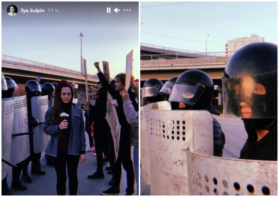 Часть участников были одеты в форму силовиков. У протестующих были плакаты на английском. Фото: ilya_kulpin/instagram.com