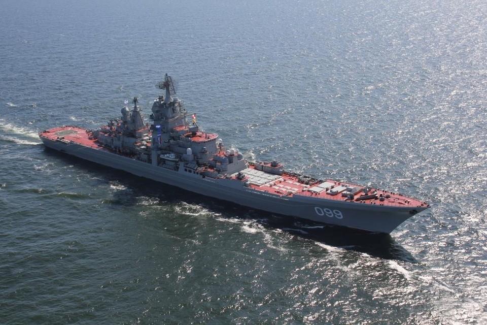 """""""Петр Великий"""" находится на учениях в Баренцевом море. Фото: пресс-служба Северного флота"""