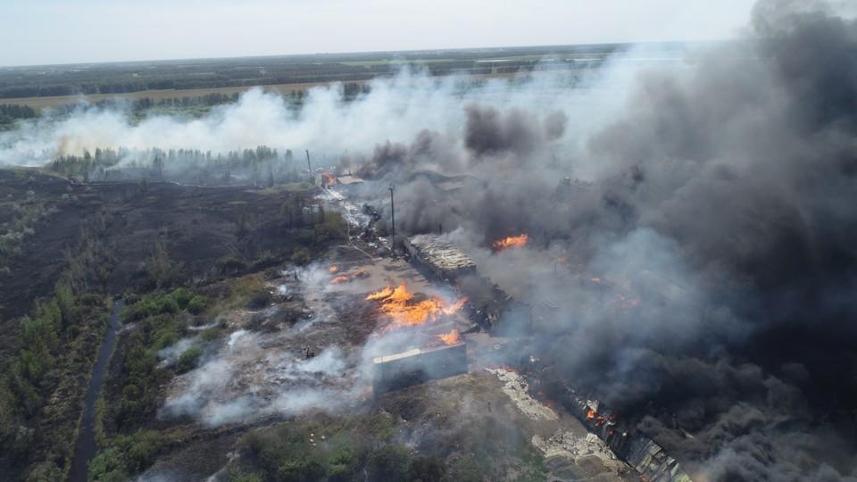 Так пожар выглядел с коптера. Фото: пресс-служба ГУ МЧС по Омской области