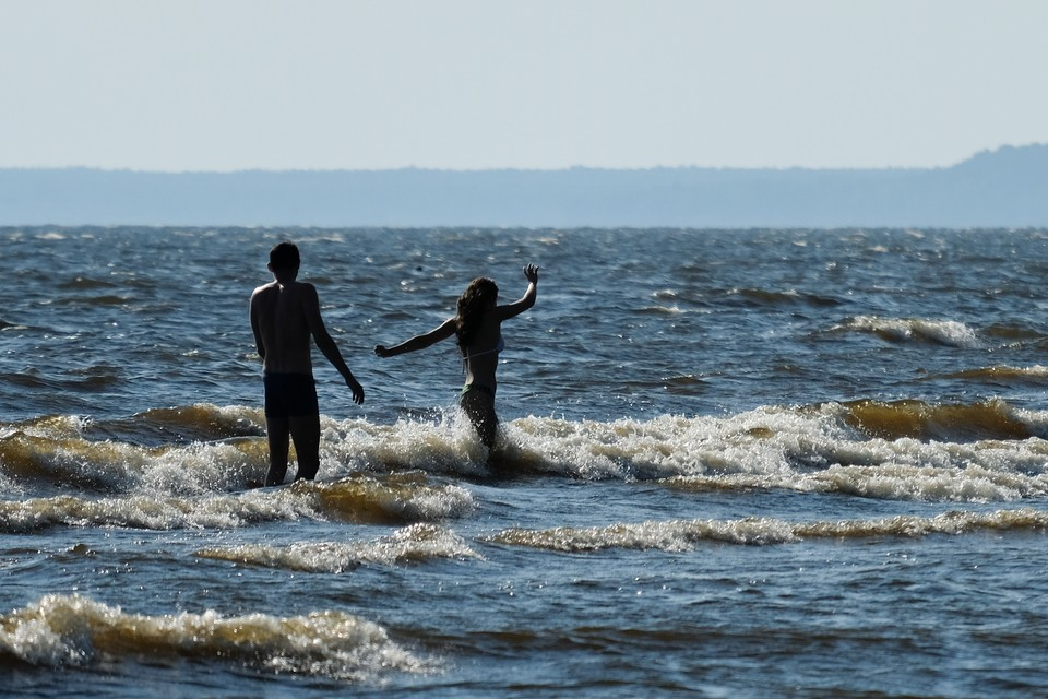 Искупаться в холодном Финском заливе решаются немногие.
