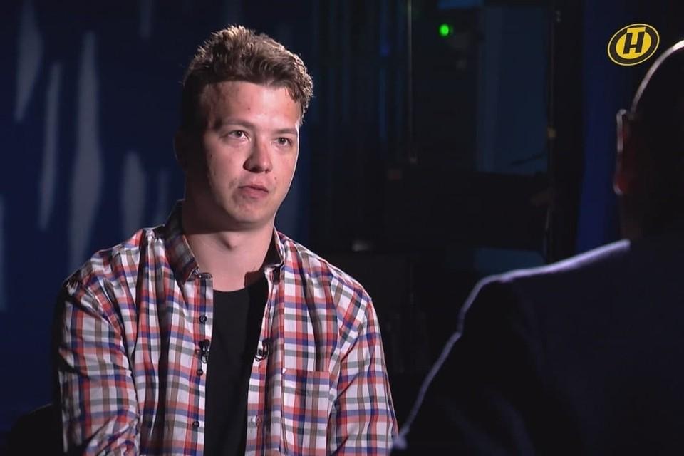 Арестованный Роман Протасевич на ТВ. Фото: скриншот видео ОНТ