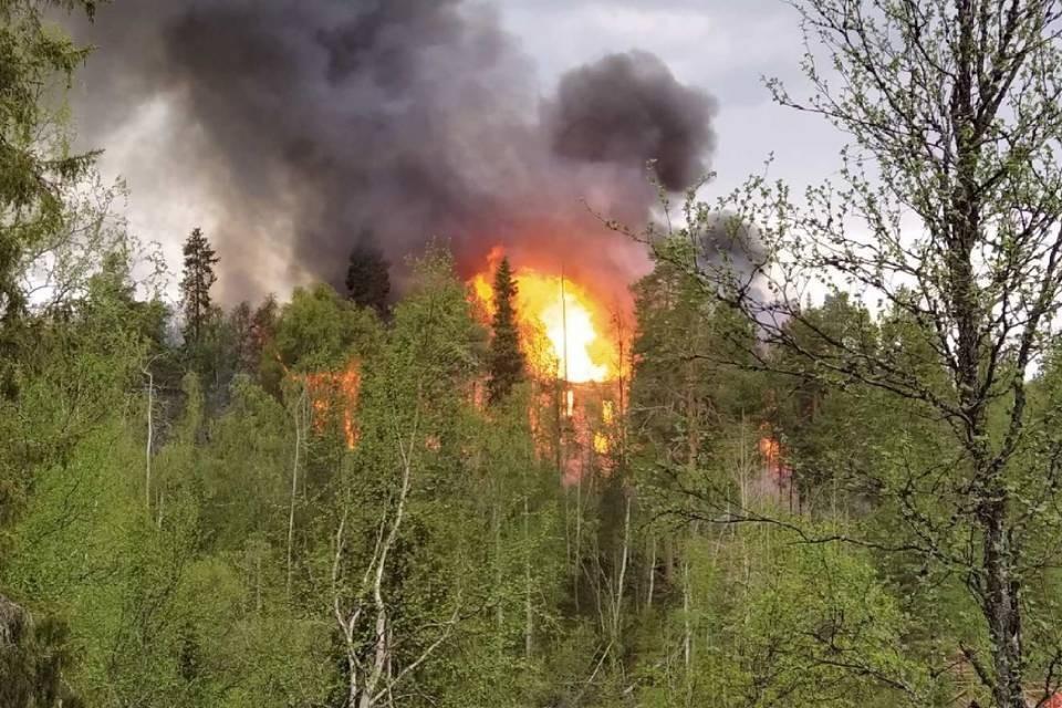 """Пожар на турбазе """"Сатка"""" начался около пяти вечера. Фото: Татьяна Зарецкая"""