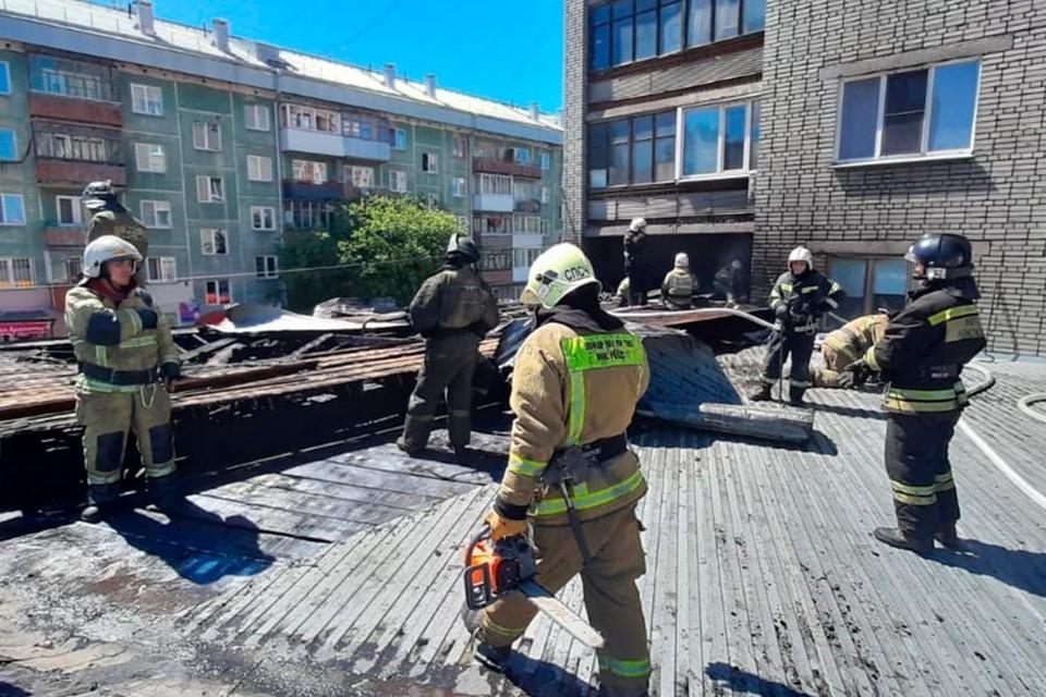 Загоревшийся супермаркет «Мария-Ра» в Новосибирске удалось потушить. Фото: ГУ МЧС по Новосибирской области