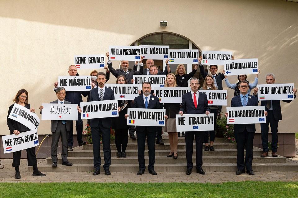 Дипломаты ЕС, США, Великобритании, Швейцарии и Японии выступили с заявлением по Беларуси. Фото: facebook.com/EUinBelarus