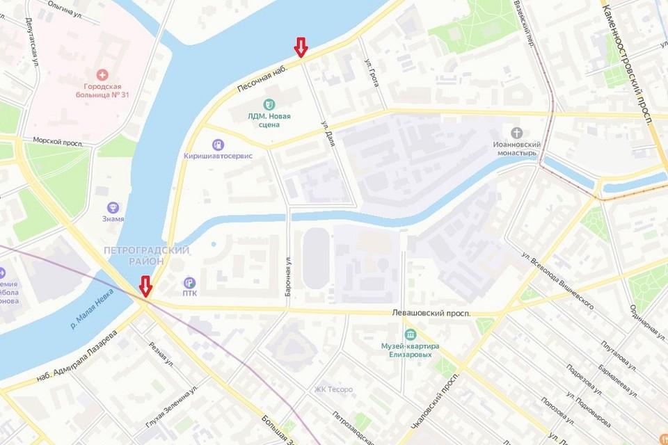 Участок от Левашовского до Даля будут ремонтировать полтора месяца. Фото: Яндекс.Карты.