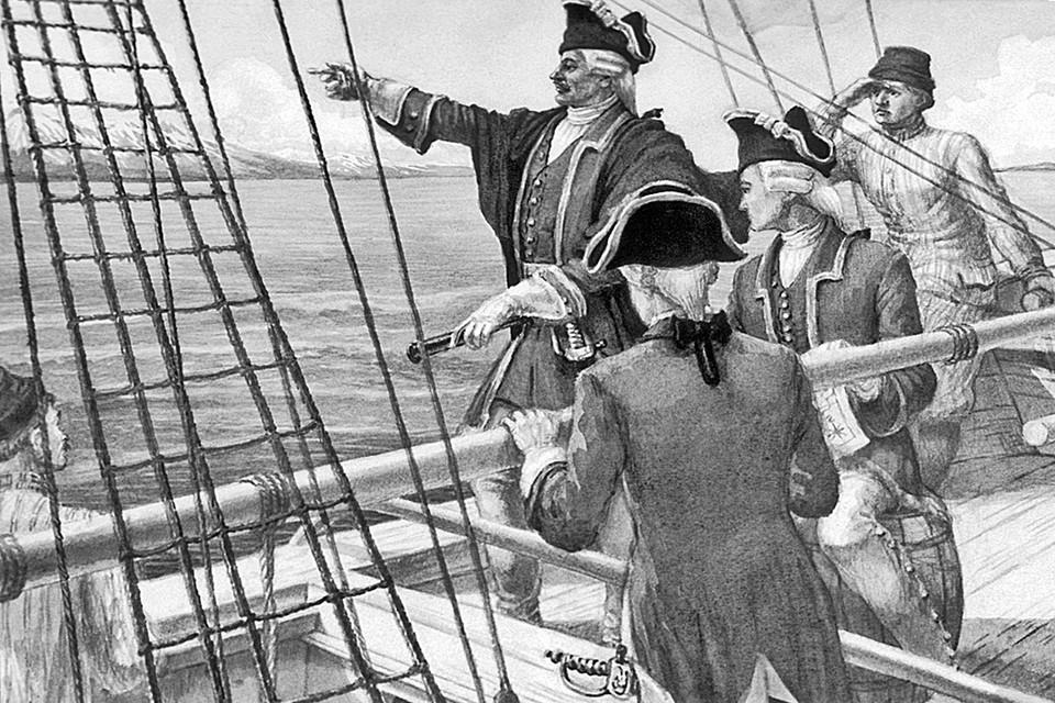 Принято считать героем командора Резанова. Но истинными героями оказались его капитаны Хвостов и Давыдов. Репродукция картины художника Бориса Свешникова «Русские мореплаватели у берегов Аляски»