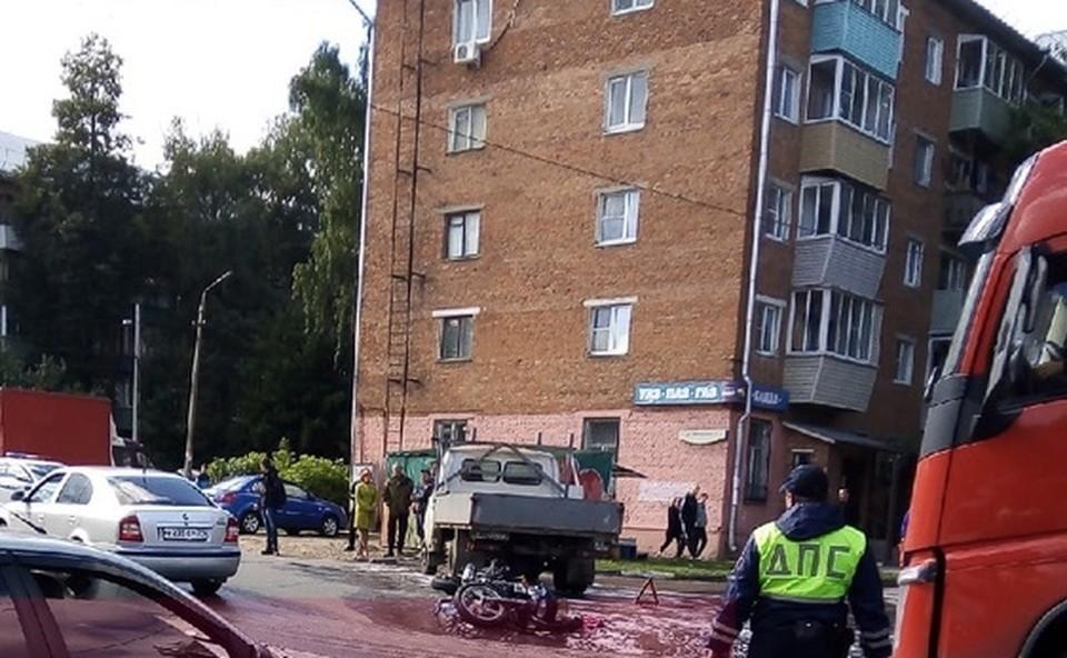В Туле мотоциклист попал под колеса «ГАЗели»