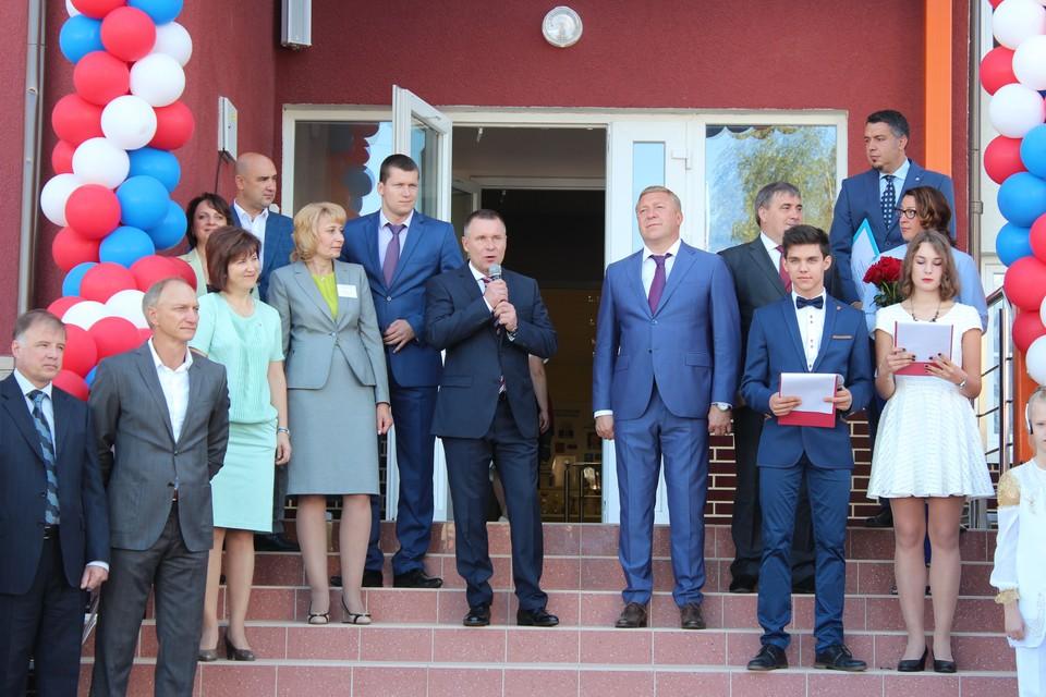 Евгений Зиничев и Александр Ярошук на открытии 22-й гимназии в Калининграде