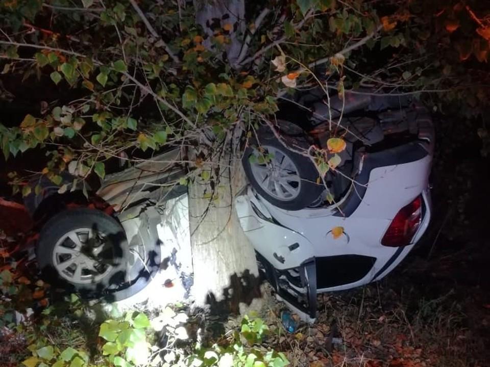 Машина наехала на бордюрный камень, потом - в дерево