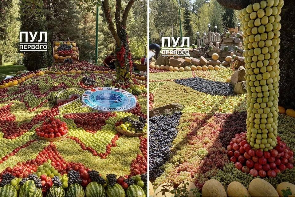Фруктовые инсталляции в Душанбе. Фото: телеграм-канал «Пул Первого»