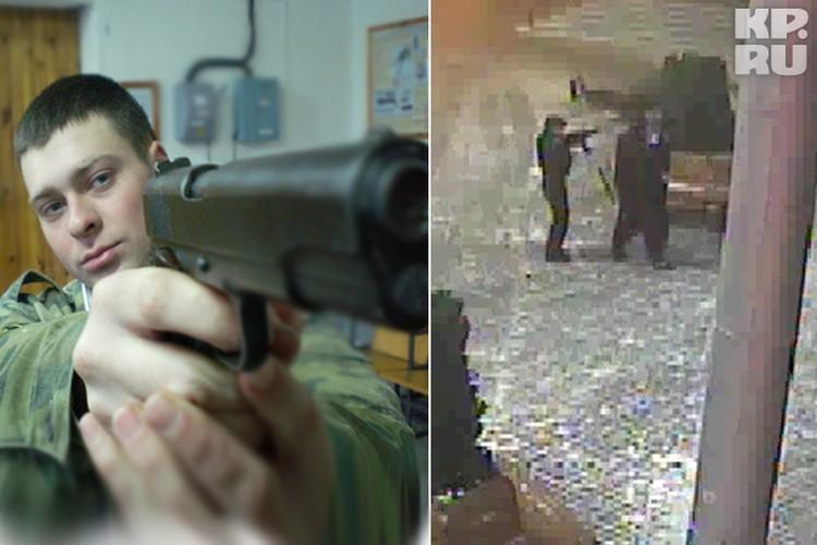 Кадр с камеры видеонаблюдения: один на развалах из инкассаторов Александр Скворцов (на фото слева) наставляет оружие на охранника торгового центра, который всего лишь попросил вернуть украденное.