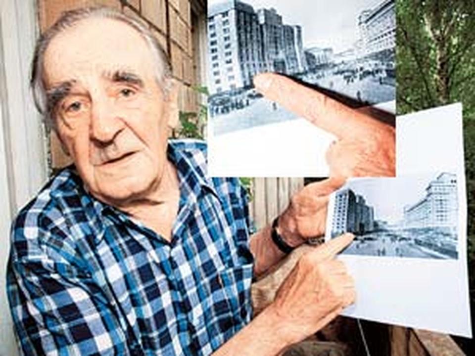 Виктор Александрович показывает на угол нынешней Госдумы. Сюда 64 года назад он заложил фугас.