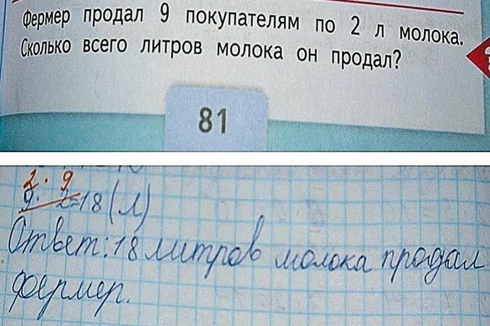 Обалдевшие родители выложили в Интернете задачу и вердикт учителя, проверявшего домашнюю работу.