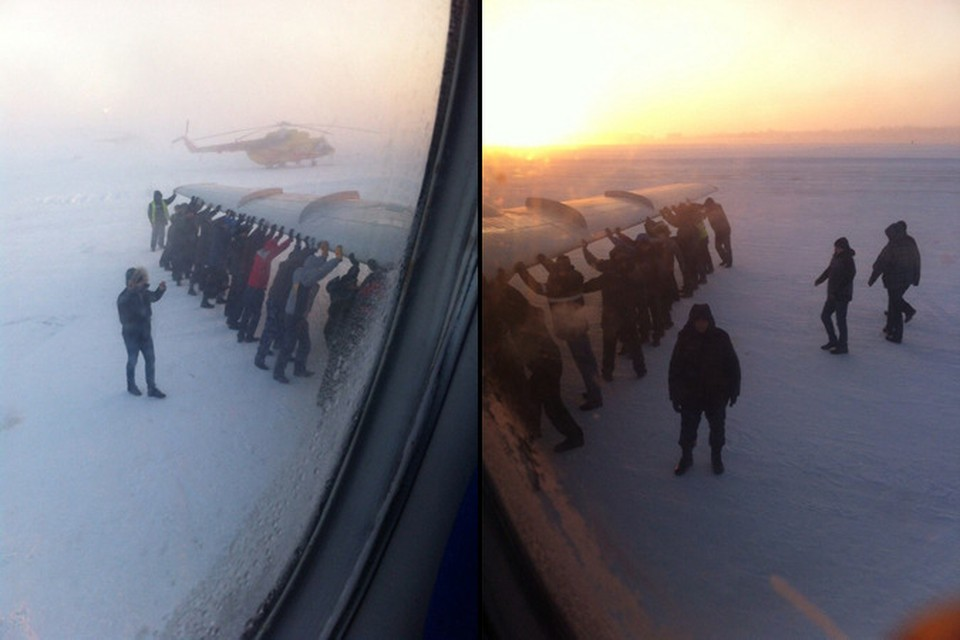 Пассажиры подтвердили, что на самом деле помогали буксировать Ту-134. Фото: соцсети