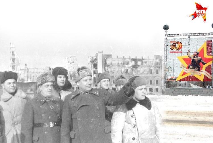 Командующий 64-й армией генерал-лейтенант Шумилов и член Военного Совета генерал-майор Абрамов с бойцами в освобожденном Сталинграде. 1943 год. Коллаж Марии СЕРГЕЕВОЙ