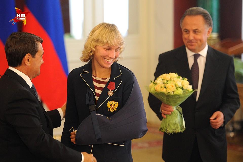 Вручение награды бронзовой призерке Олимпиады  по боксу среди женщин в весовой категории до 60 кг Анастасии Беляковой.