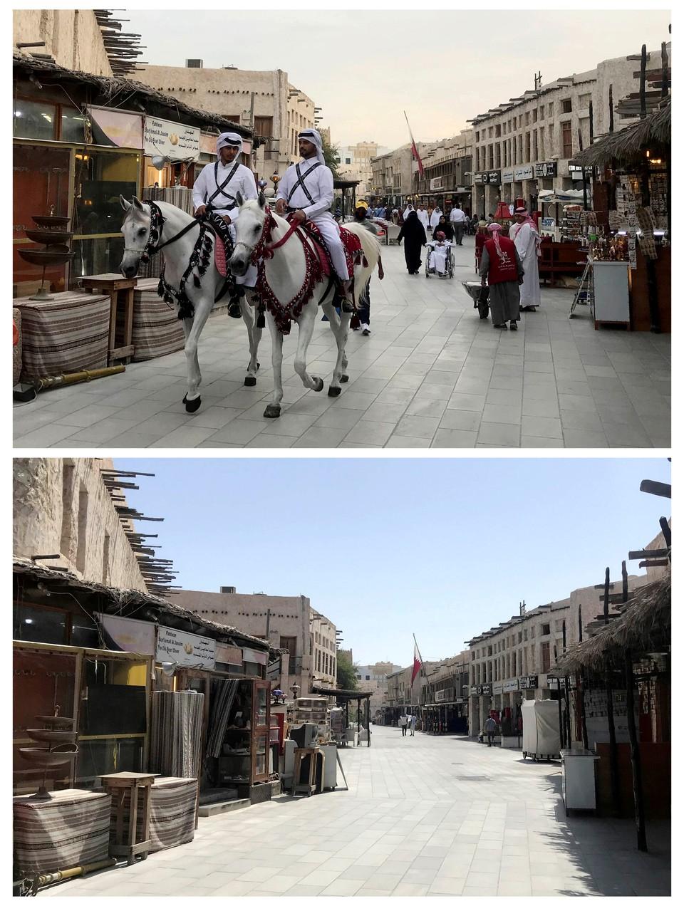 Комбинация снимков  с улицей столицы Катара города Доха с разницей в одну неделю.