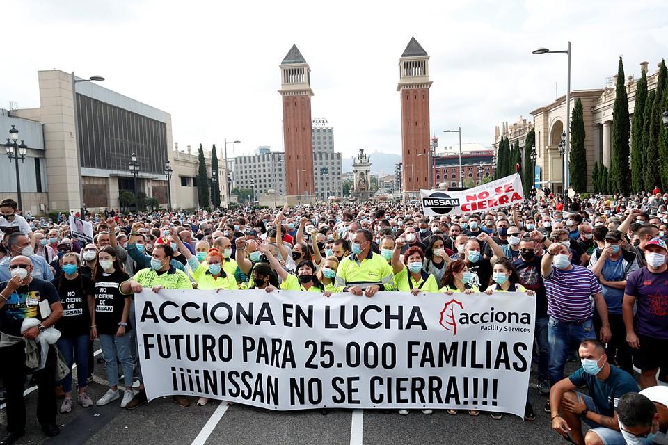В Барселоне продолжаются акции протеста из-за объявления о закрытии завода Nissan
