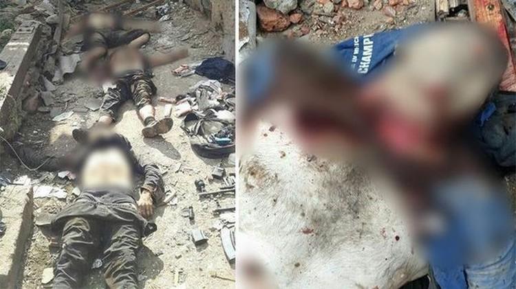 Фото убитых террористов сразу после спецоперации. Фото: пресс-служба НАК