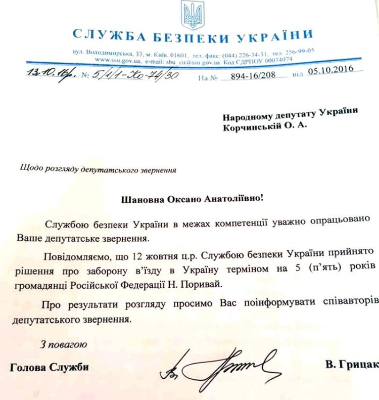Фото документа СБУ, который запретил певице Наташе Королёвой посещение Украины на пять лет.