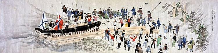 Пергамент с репродукцией японской картины «Прибытие Путятина», которую вручили японцы Президенту РФ