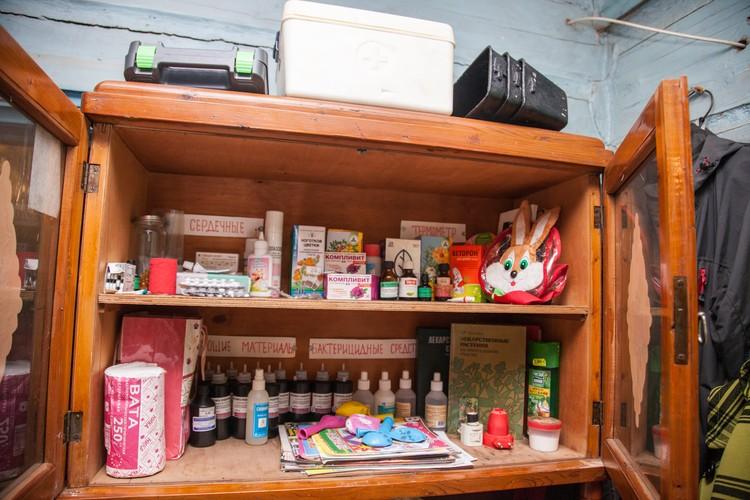 Лекарства и средства по уходу за больными хранятся в специальном аптечном шкафу. Все подписано