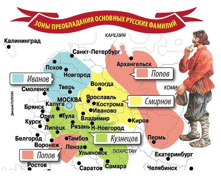 Зоны преобладания популярных русских фамилий.
