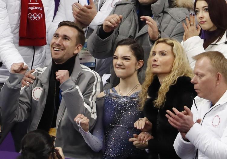 Реакция Евгении Медведевой на заработанные на Олимпиаде рекордные баллы.