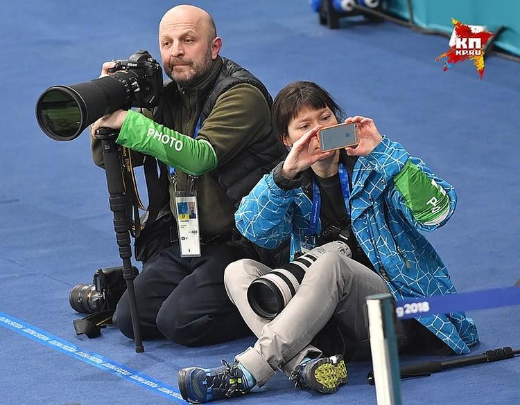 Мастера российской спортивной фотожурналистики Владимир Песня и Мария Плотникова.