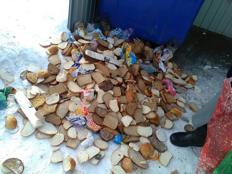 В феврале хлеб на помойку выбрасывали в Гатчине. Фото: Вконтакте