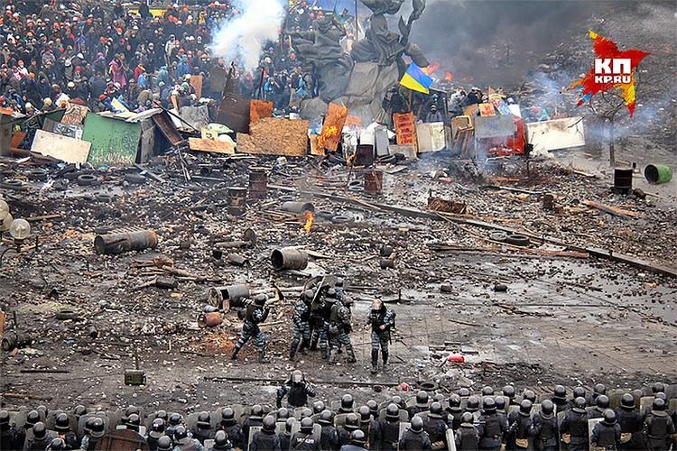 События на Майдане Незалежности, февраль 2014 года.