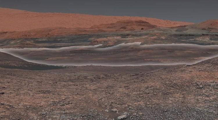 Марсианский кратер Гейла, на месте которого несколько миллиардов лет назад былло озеро.
