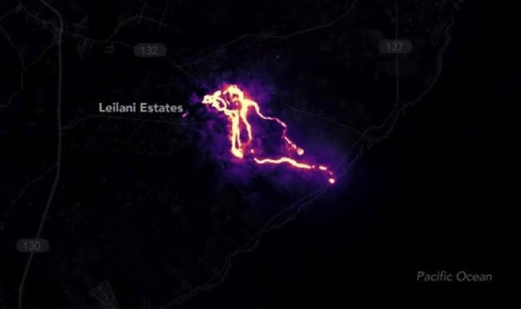 Вид из космоса на жидкую лаву, из которой образуются Волосы Пеле.
