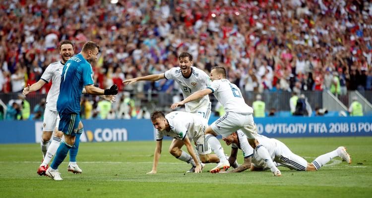 Ликование футболистов сборной России после победы над Испанией в 1/8 финала ЧМ-2018.